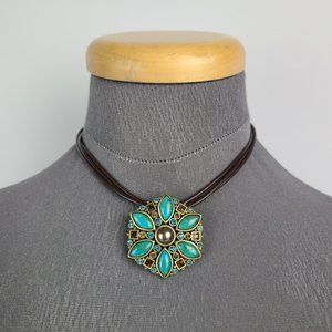 Myka Turquoise Flower Cord Pendant Necklace